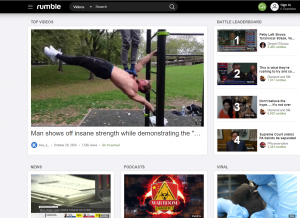 Screen shot of Rumble's home page.