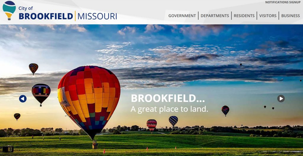 Screen shot of home page of brookfieldcity.com
