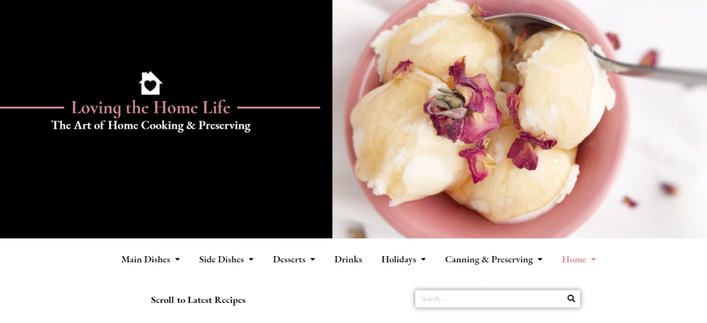 Screenshot of home page of Loving the Home Life blog.