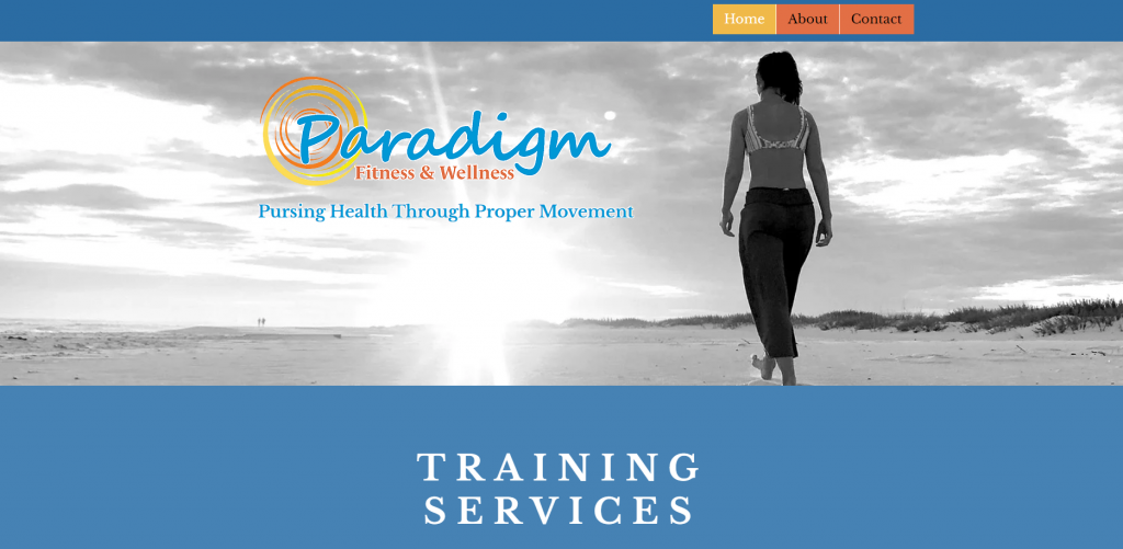 Paradigm Fitness and Wellness Home Page Screen Shot