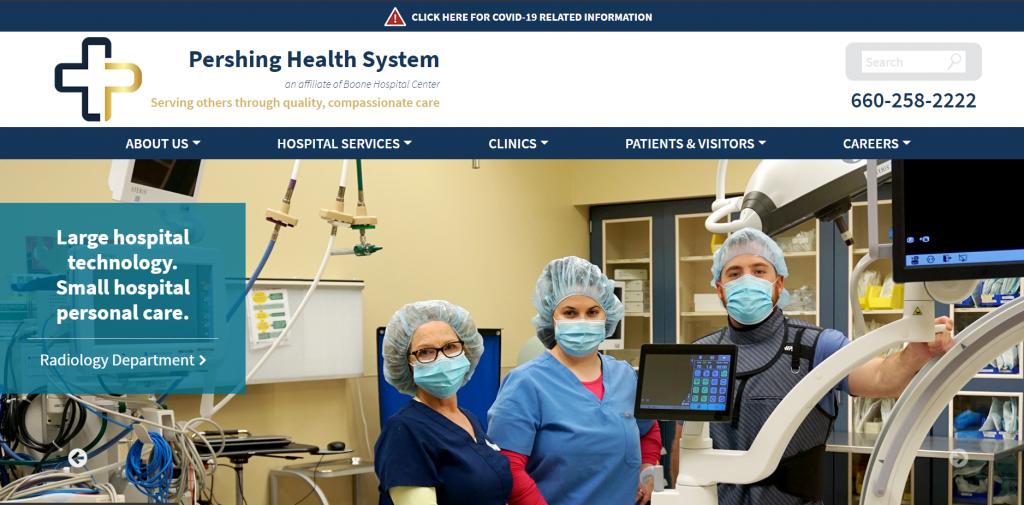 Pershing Health System Website Screen Shot